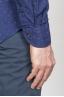 SBU - Strategic Business Unit - クラシックなポイントカラーブルーのマイクロパターンマドラスコットンシャツ