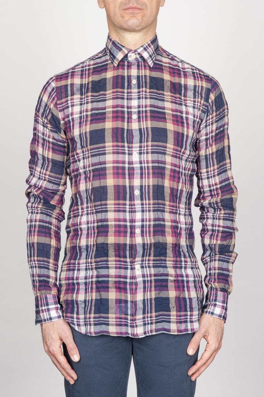 Camicia Classica Collo A Punta In Cotone Goffrato Madras Rossa