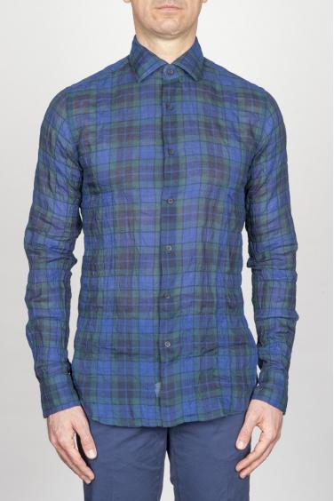 SBU - Strategic Business Unit - Camicia Classica Collo A Punta In Cotone Goffrato Madras Blue