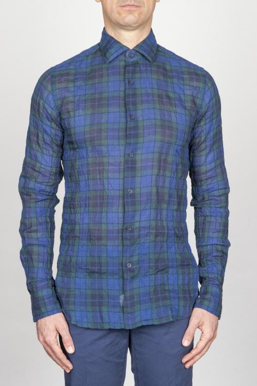 SBU - Strategic Business Unit - Classic Point Collar Blue Madras Cotton Shirt