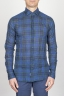 SBU - Strategic Business Unit - Camicia Classica Collo A Punta In Cotone Goffrato Madras Blue