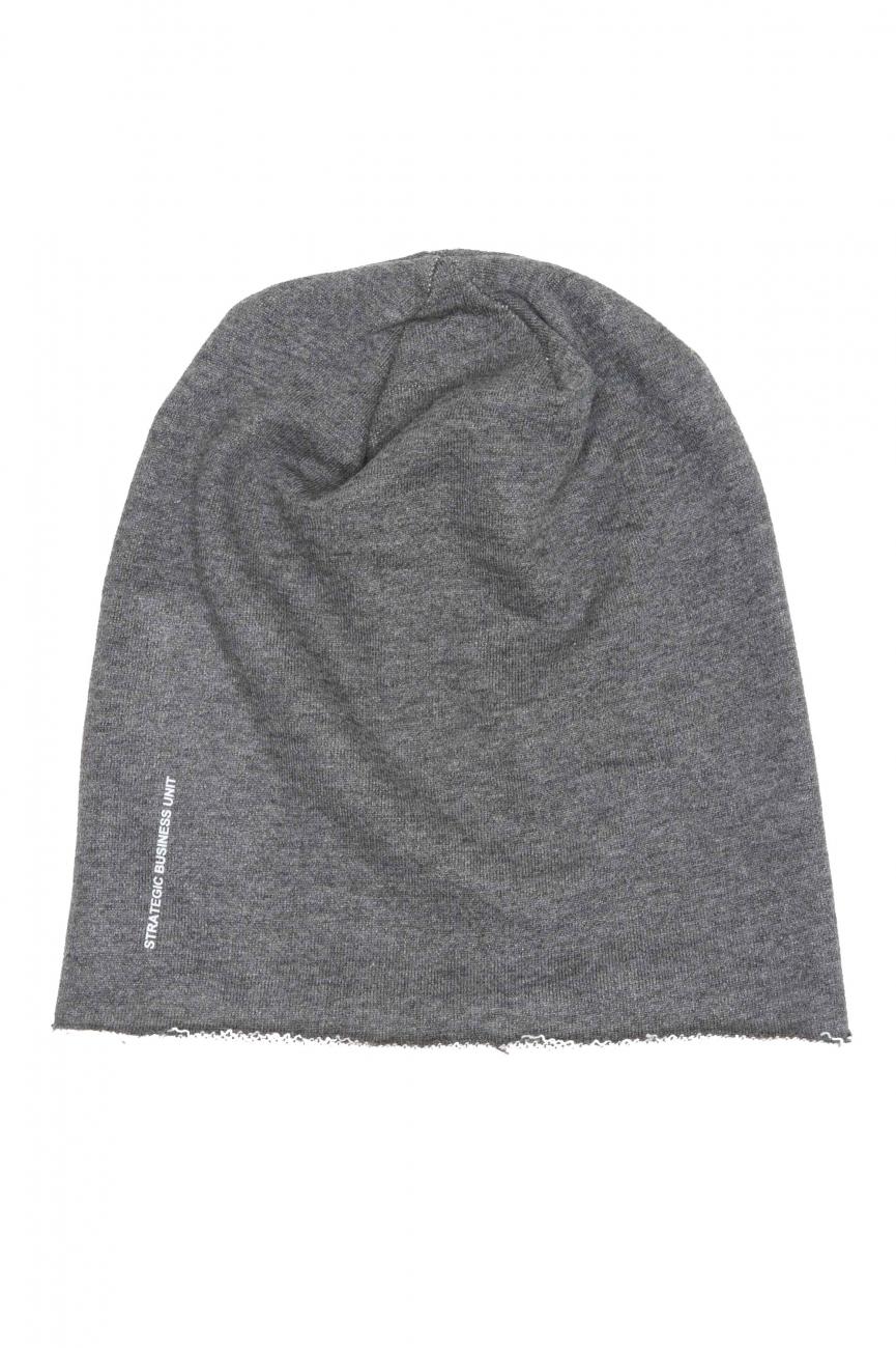 SBU 01191 Bonnet en laine classique de coupe en pointe gris 01
