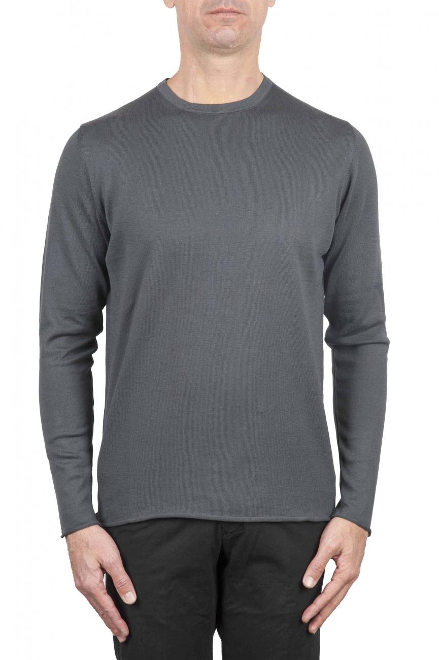 SBU 01198 Crew neck raw cut sweater 01