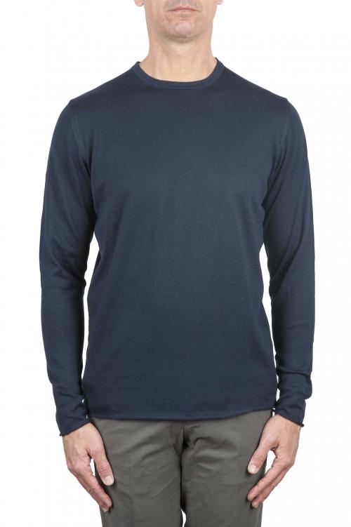 クルーネック生のカットセーター