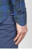 Camicia Classica Collo A Punta In Cotone Goffrato Madras Blue