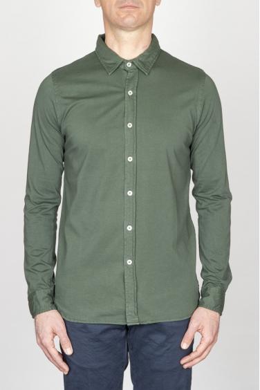 SBU - Strategic Business Unit - Camicia Classica Collo A Punta In Cotone Jersey Verde