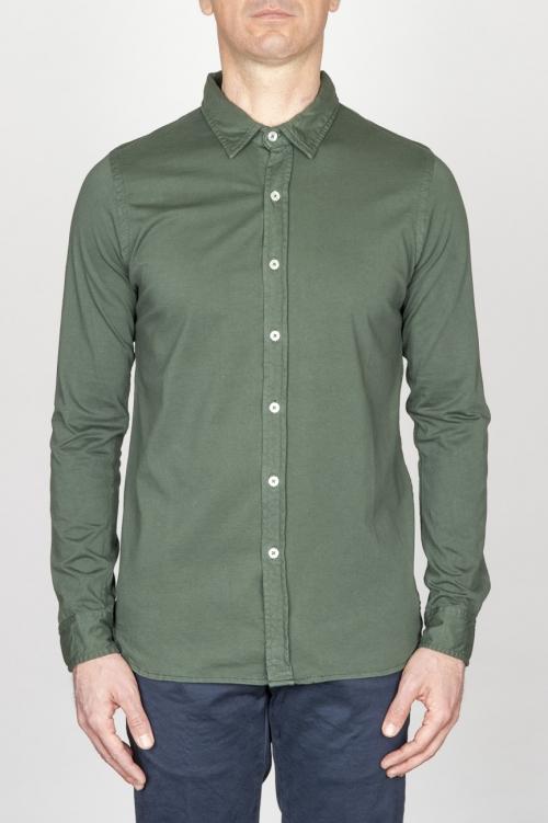 SBU - Strategic Business Unit - Classic Point Collar Green Cotton Jersey Shirt