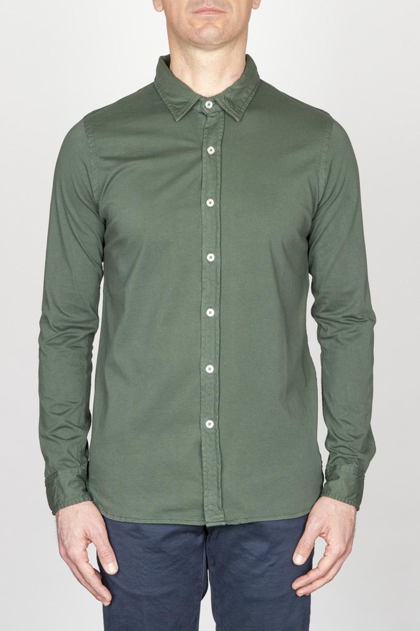 Camicia Classica Collo A Punta In Cotone Jersey Verde