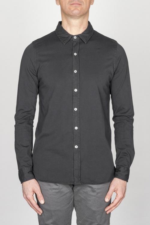 SBU - Strategic Business Unit - Classic Point Collar Black Cotton Jersey Shirt