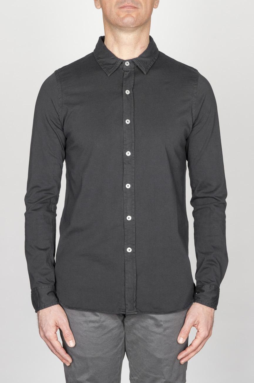 Camicia Classica Collo A Punta In Cotone Jersey Nera
