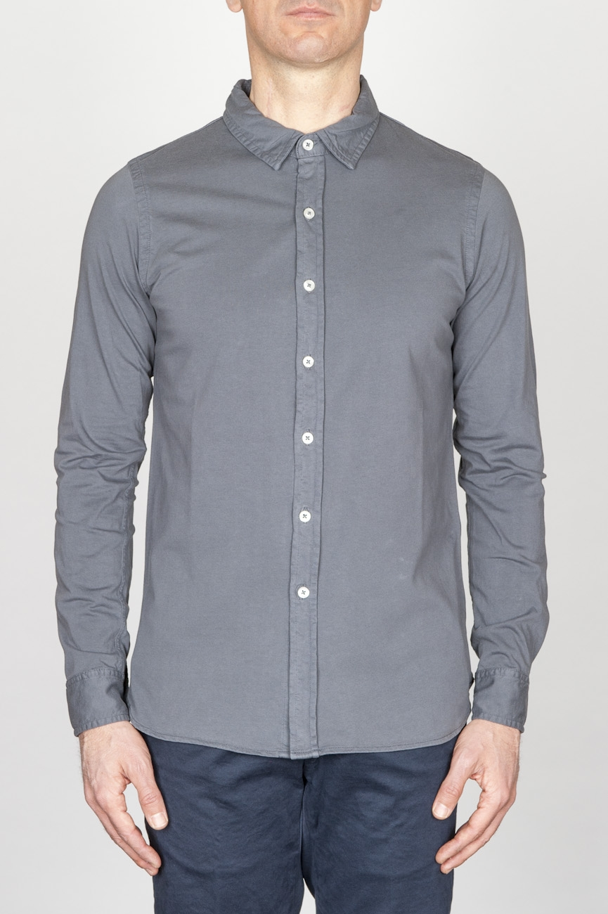 SBU - Strategic Business Unit - クラシックなポイントカラーグレーコットンジャージーシャツ