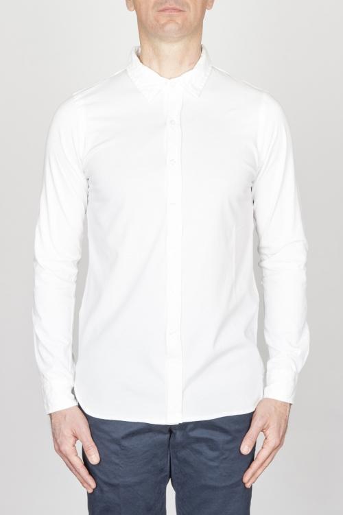 Camicia Classica Collo A Punta In Cotone Jersey Bianca