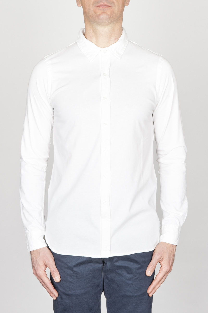 SBU - Strategic Business Unit - Classic Point Collar White Cotton Jersey Shirt