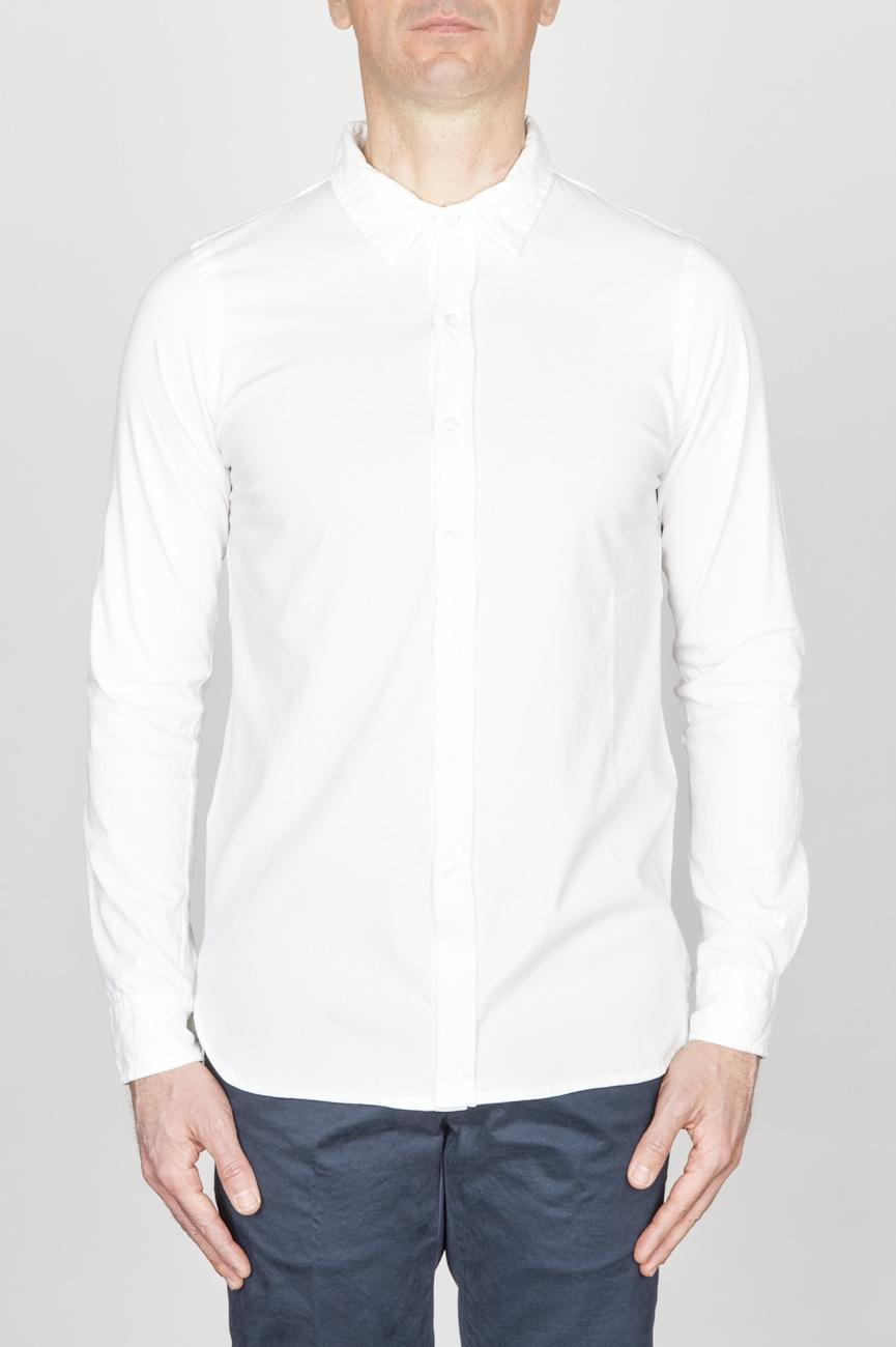 SBU - Strategic Business Unit - Camicia Classica Collo A Punta In Cotone Jersey Bianca