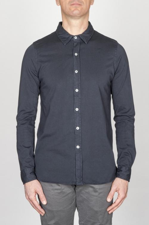 Camicia Classica Collo A Punta In Cotone Jersey Blue