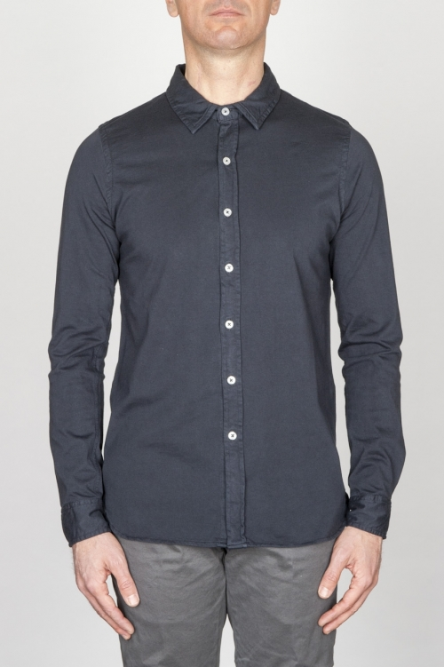 SBU - Strategic Business Unit - Classic Point Collar Blue Cotton Jersey Shirt