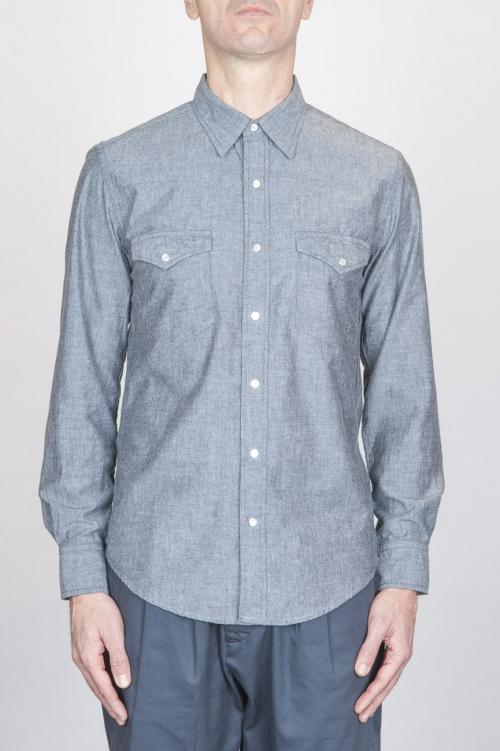 SBU - Strategic Business Unit - 古典的なグレーの綿のシャンブレーロデオシャツ