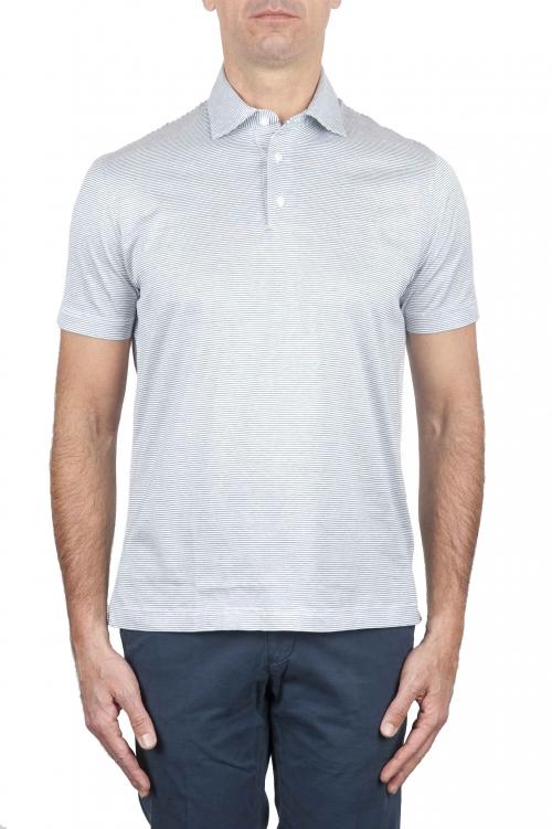 ストライプコットンポロシャツ