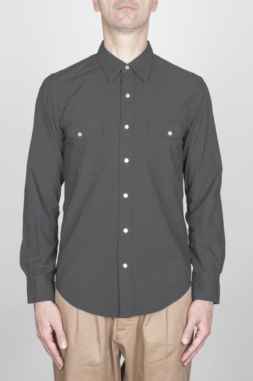 Camicia Texana Western In Cotone Chambray Nera