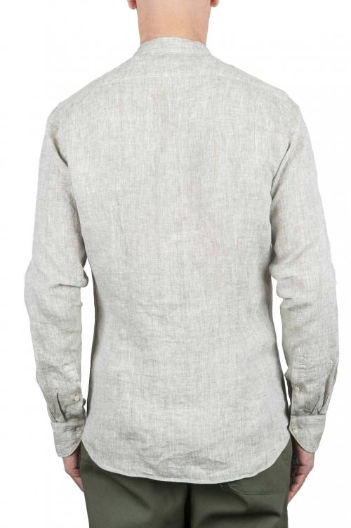 SBU 01275 Camisa de lino de collar mandarín 01