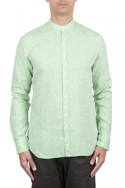 SBU 01276 Camisa de lino de collar mandarín 01