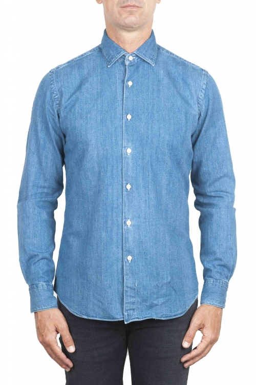 SBU 01300 Stone washed indigo dyed denim shirt 01