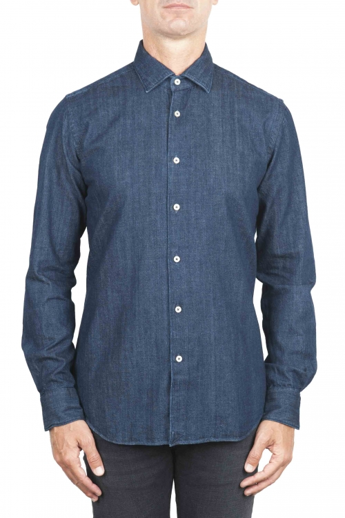 SBU 01301 Pure natural indigo dyed blue denim shirt 01
