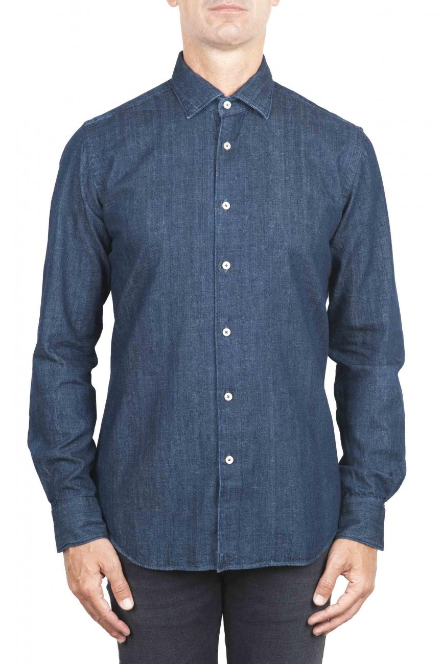 SBU 01301 Camicia in denim tinto puro indaco naturale blu 01