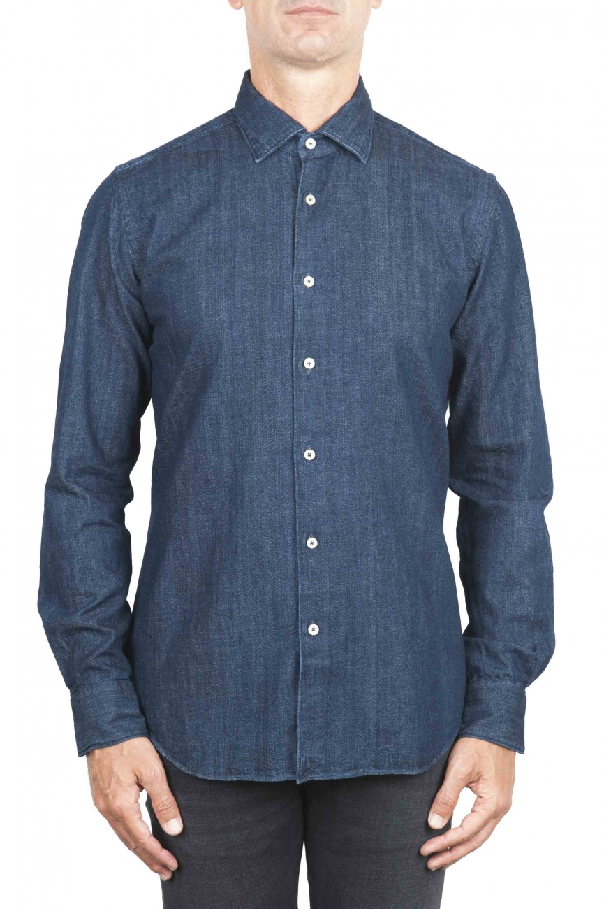 SBU 01301 Camisa denim teñida en azul índigo natural puro 01