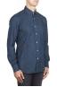 SBU 01301 Camicia in denim tinto puro indaco naturale blu 02