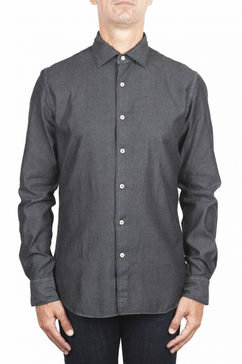 SBU 01302 Camicia in cotone denim tinta china 01
