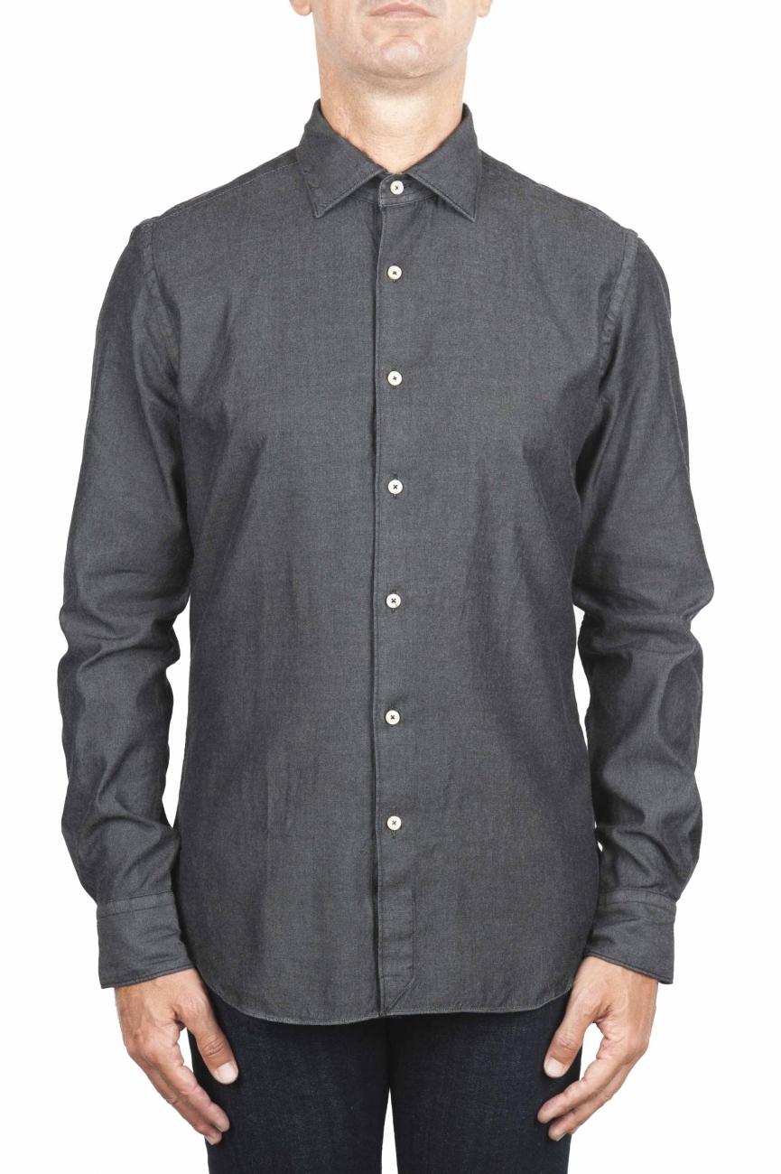 SBU 01302 Ink dyed cotton denim shirt 01