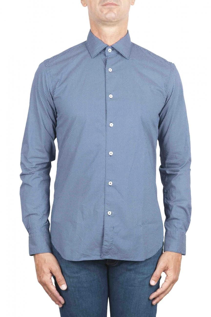SBU 01303 幾何学模様の青い綿のシャツ 01