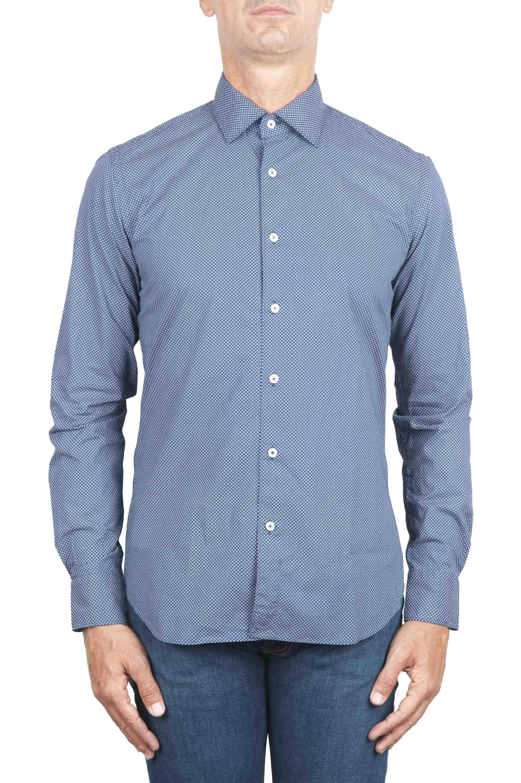 SBU 01303 Geometric printed pattern blue cotton shirt 01