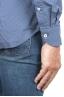 SBU 01303 幾何学模様の青い綿のシャツ 06