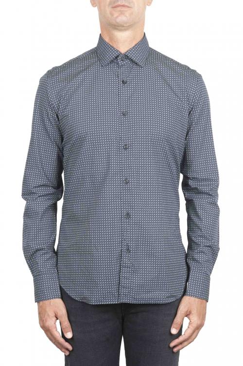 SBU 01304 幾何学模様の紺色のコットンシャツ 01