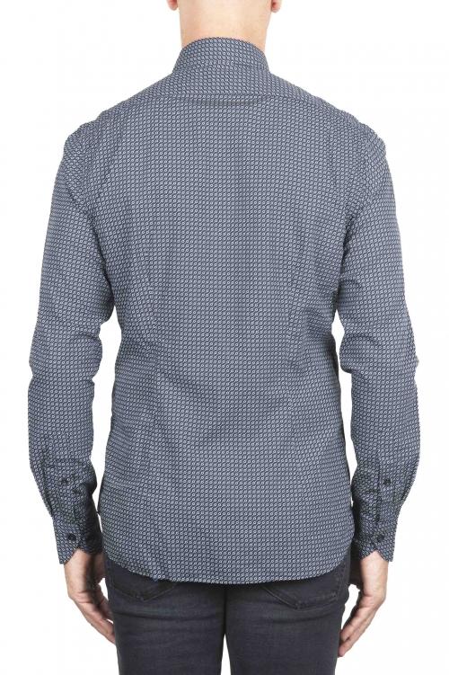 SBU 01304 Chemise en coton bleu marine à motifs géométriques 01