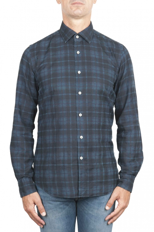 SBU 01305 Checkered pattern blue cotton shirt 01