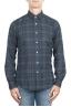 SBU 01305 Checkered pattern blue cotton shirt 01