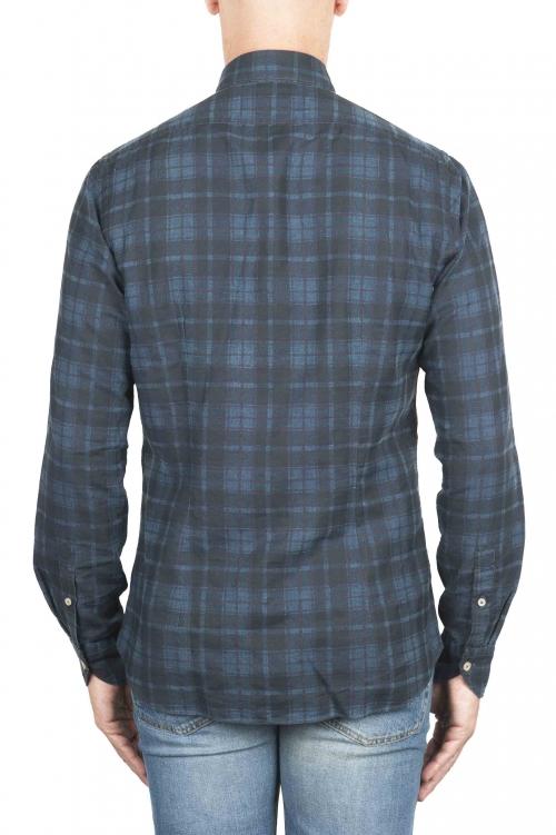 SBU 01305 チェック模様の青い綿のシャツ 01