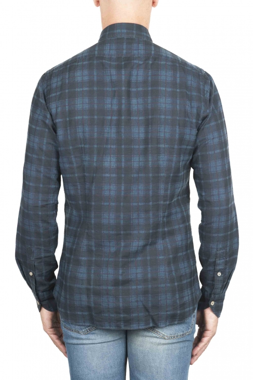 SBU 01305 Camisa de algodón azul a cuadros 01