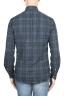 SBU 01305 チェック模様の青い綿のシャツ 04