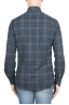 SBU 01305 Checkered pattern blue cotton shirt 04