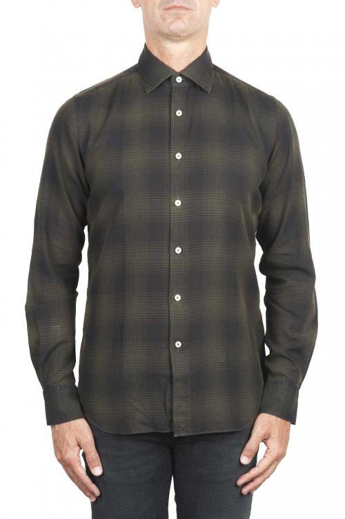 SBU 01306 Camisa de algodón verde a cuadros Príncipe de Gales 01