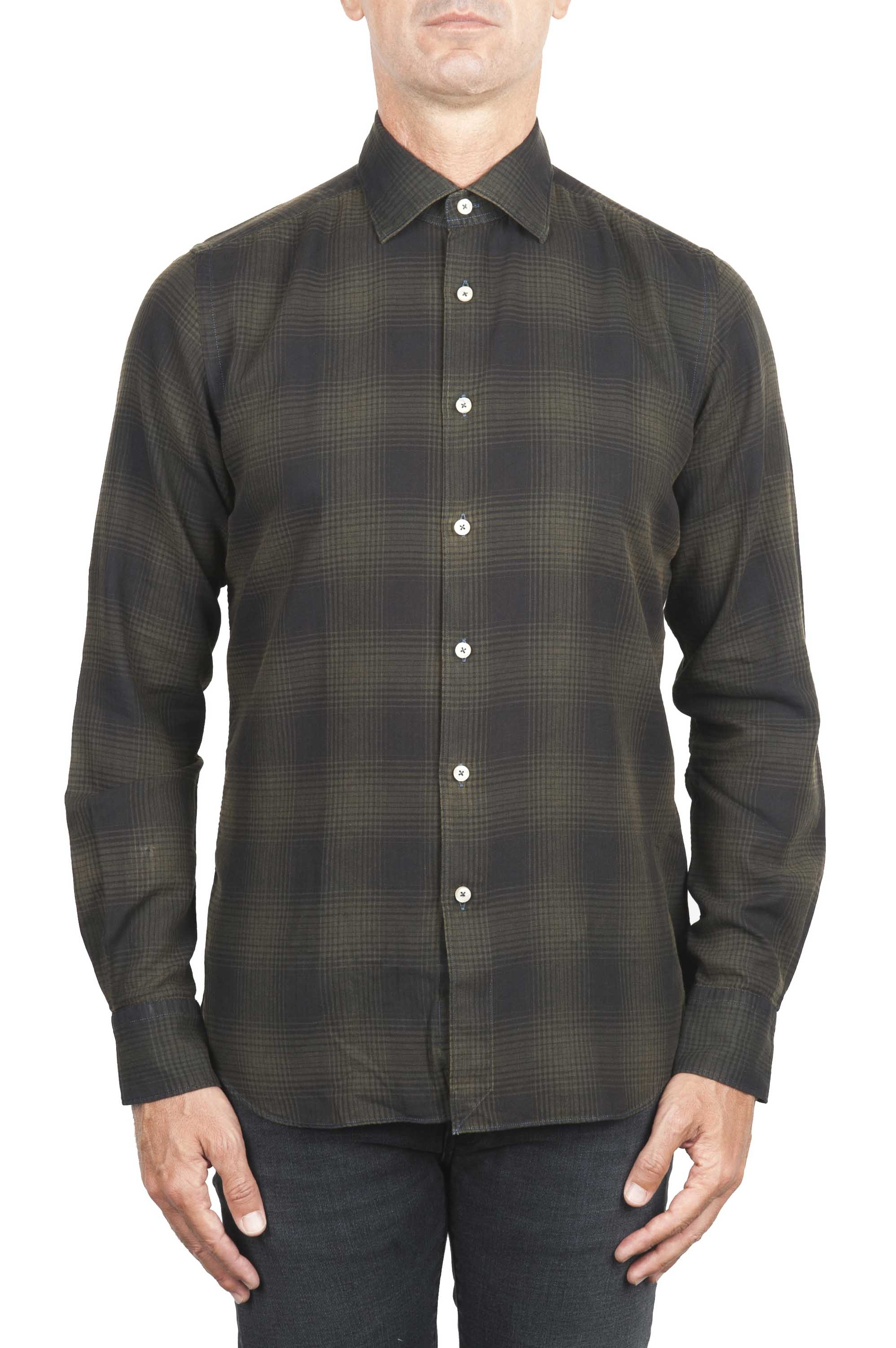 SBU 01306 Prince of Wales checkered pattern green cotton shirt 01