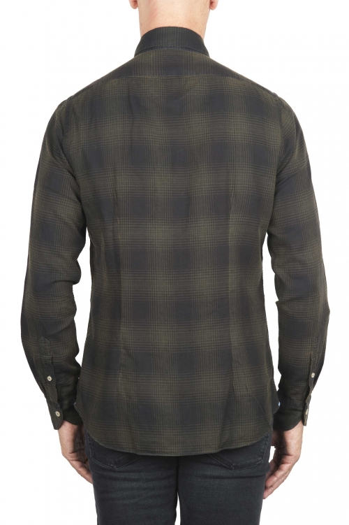 SBU 01306 ウェールズ公の市松模様の緑の綿のシャツ 01