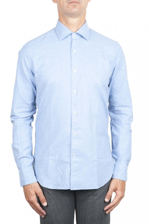 SBU 01307 Plain soft cotton blue flannel shirt 01