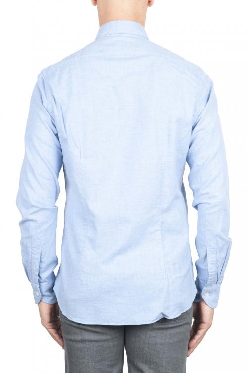 SBU 01307 Camicia in flanella di cotone tinta unita blu 01
