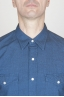 Camicia Texana Western In Cotone Chambray Blue Indaco