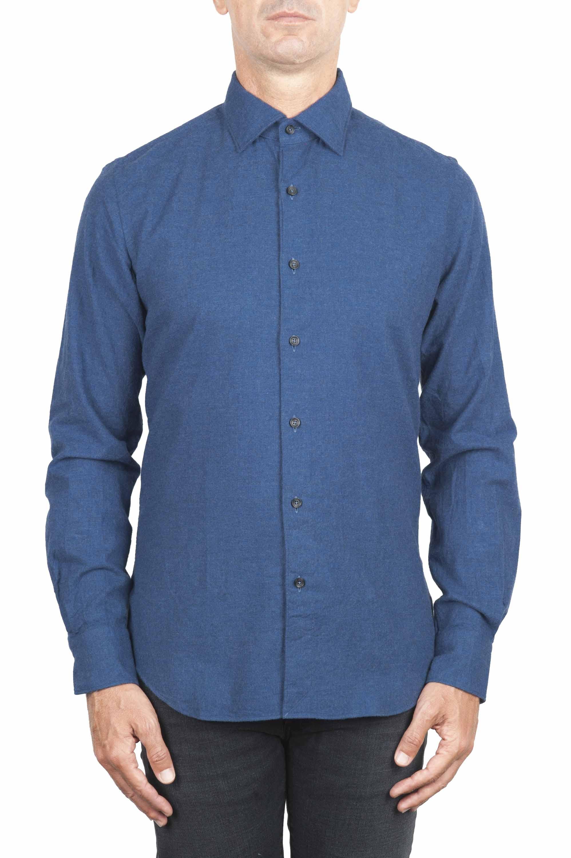 SBU 01308 Camicia in flanella di cotone tinta unita indaco 01